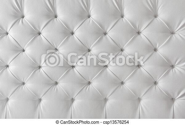 Leather tapstery White Sofa textura, patrón de fondo - csp13576254