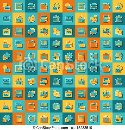 Patrón sin fisuras de iconos bancarios. - csp15283510