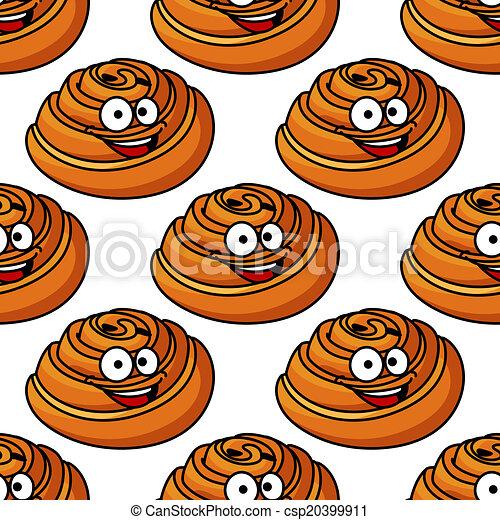 Patrón sin cortes de pasteles daneses sonrientes - csp20399911