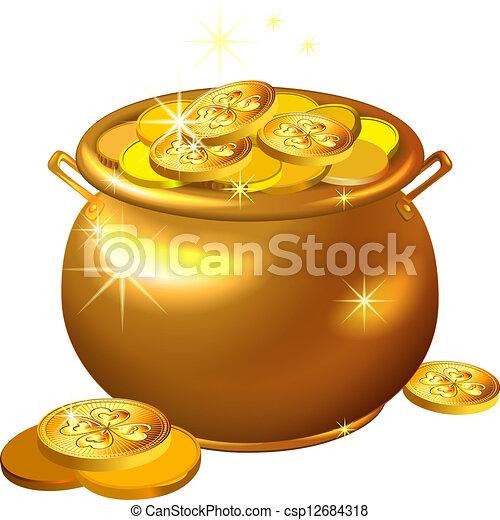 La olla de oro del Día del Vector St. Patrick con monedas - csp12684318