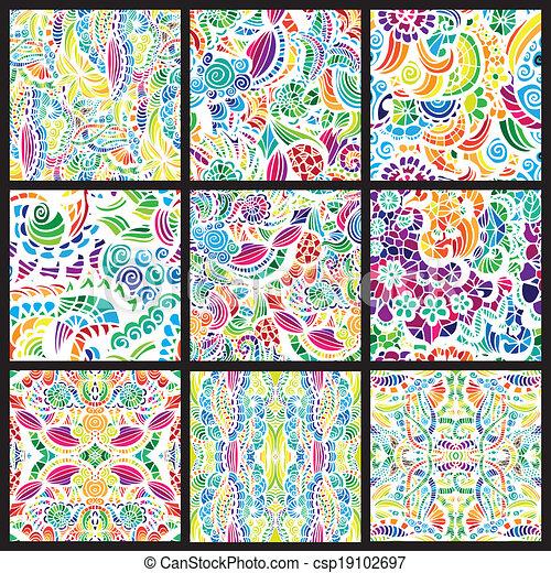 Un conjunto de nueve patrones sin costura - csp19102697