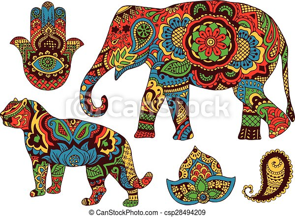 Patrones indios para el diseño - csp28494209