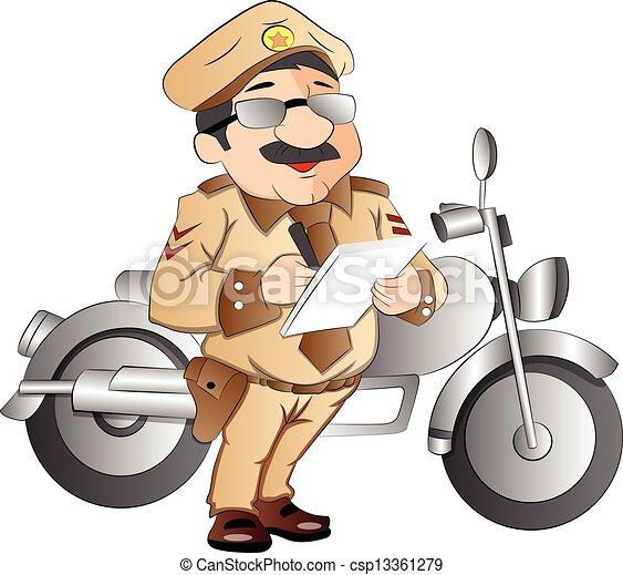 Patrulla de carreteras, ilustración - csp13361279