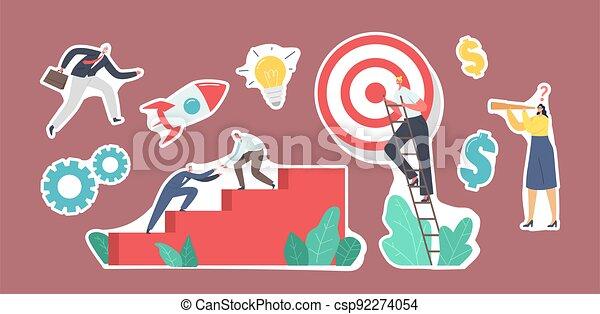 pegatinas, conjunto, luego, trabajo en equipo, equipo, gente, escaleras, montañismo, puntería, blanco, paso, empresa / negocio, top., alcance - csp92274054