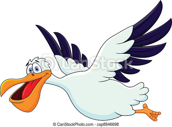 Dibujos animados pelícanos volando - csp8846698