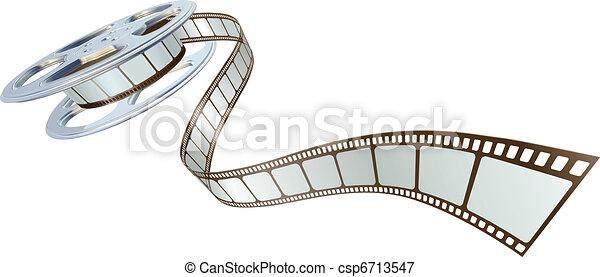 Películas saliendo de rollos de película - csp6713547