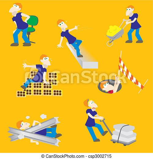 Peligrosos, obrero de accidentes de construcción - csp3002715