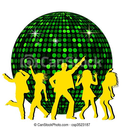 Bola de disco y gente bailando - csp3523187