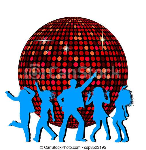 Bola de disco y gente bailando - csp3523195