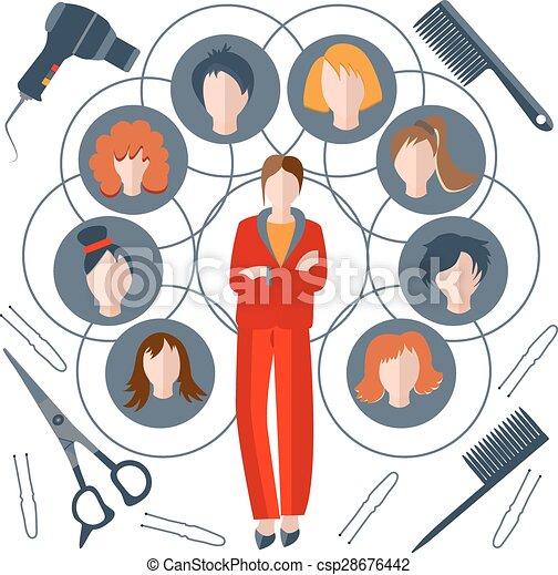 Estilista femenina, peluca, peine, tijeras - csp28676442