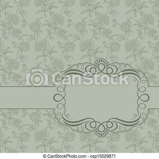 Un marco de vintage en el fondo de las peonías - csp15029871