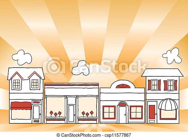 Pequeña calle principal de negocios - csp11577867
