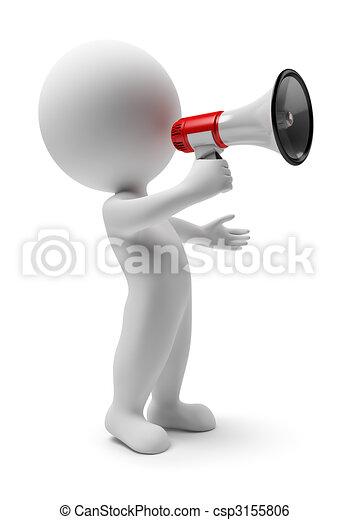3D personas pequeñas - megáfono - csp3155806