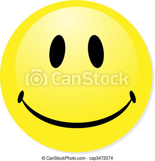 El vector sonriente emoticon amarillo. Perfecto para icono, botón, placa. Una sombra brillante. - csp3472074