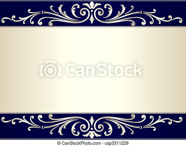 Pergamino de vintage en beige plateado y azul - csp3311229