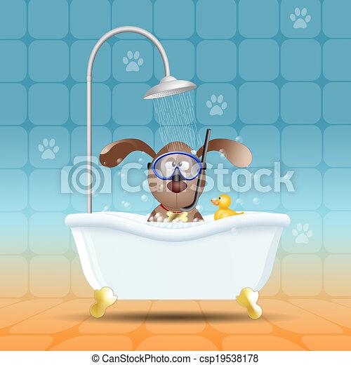 Perro con máscara de buceo en el baño - csp19538178
