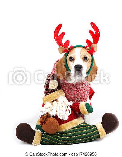 Perro de Navidad como Santa - csp17420958