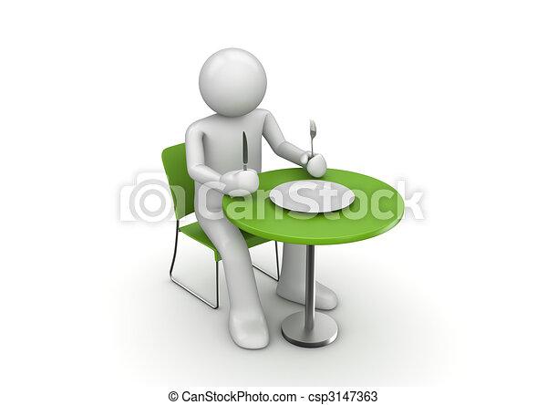Personaje hambriento esperando una comida - csp3147363