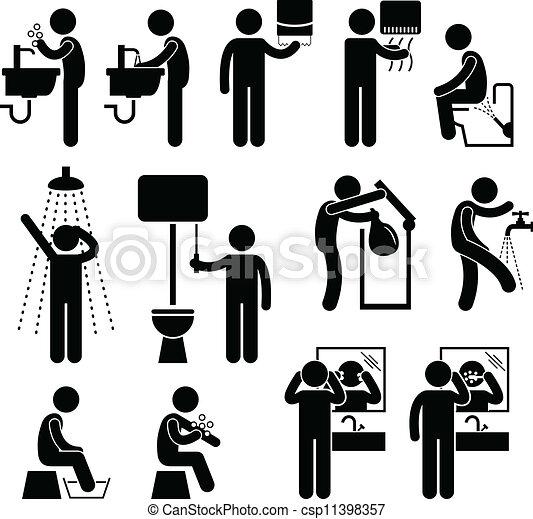 Higiene personal en el baño - csp11398357