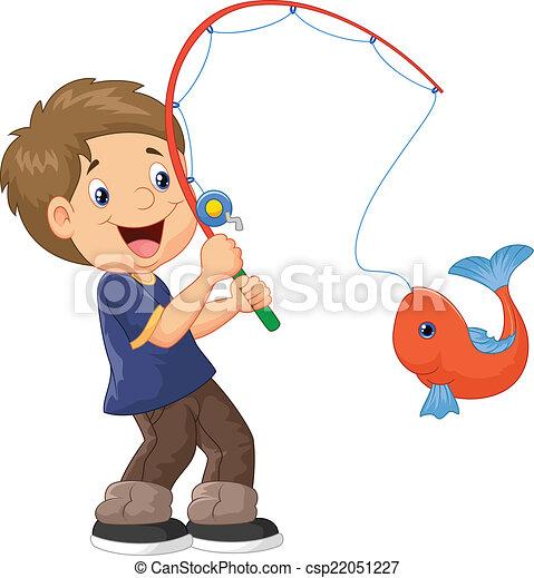 Pesca de un niño de dibujos animados - csp22051227
