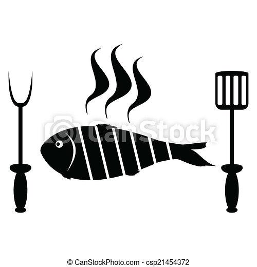 Pescado asado en la parrilla - csp21454372
