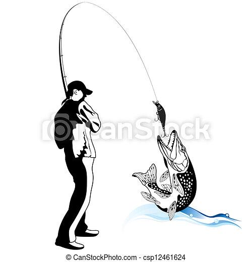 Pescador atrapó un lucio - csp12461624