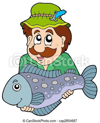 Pescador sosteniendo peces grandes - csp2854687