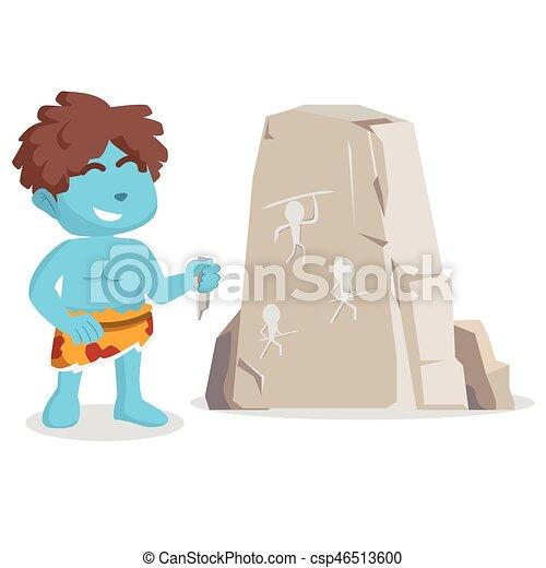 Un cavernícola azul dibujando en piedra - csp46513600