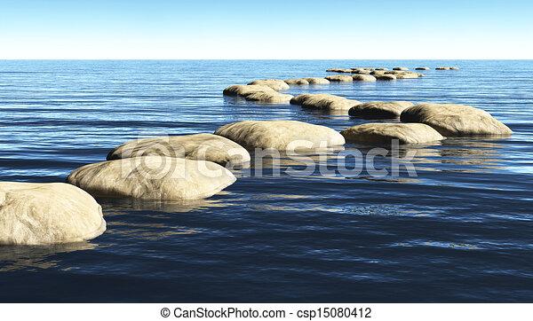 Un sendero de piedras sobre el agua - csp15080412
