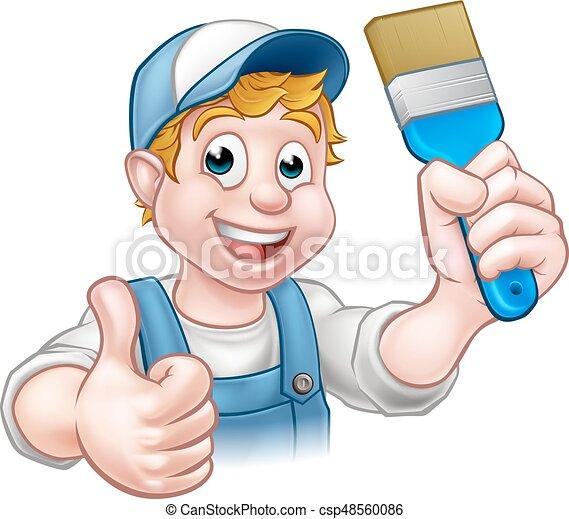 Decorador de pintores manitas sosteniendo pincel - csp48560086