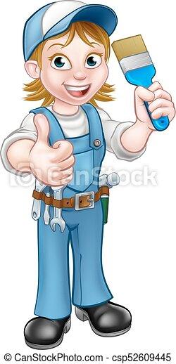 Un personaje de pintora de dibujos animados - csp52609445