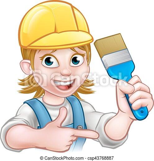 Una decoradora de pintores con pincel - csp43768887