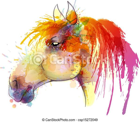 Pintura acuarela de caballo - csp15272049