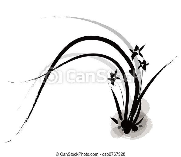 Pintura china de orquídea - csp2767328