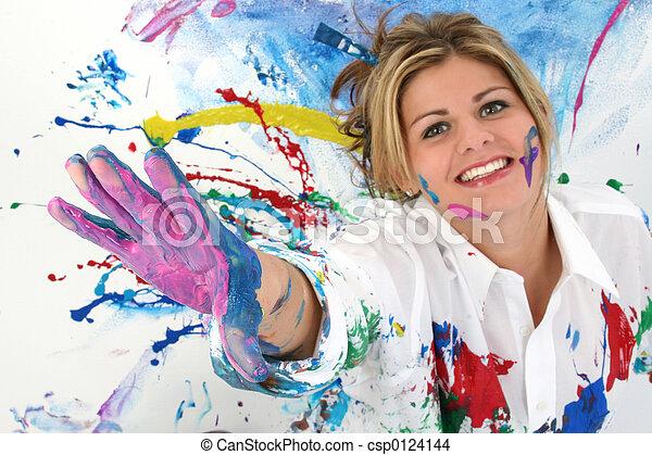 Pintura de mujer adolescente - csp0124144