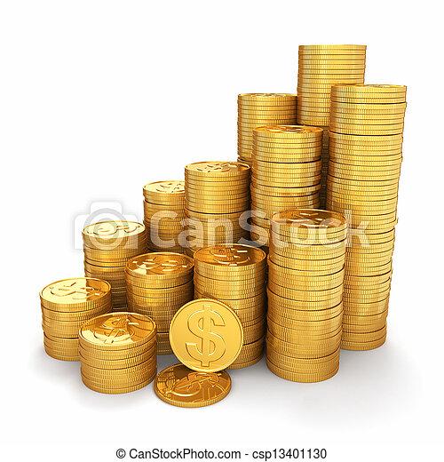 Pirámide de monedas de oro en blanco. 3D - csp13401130