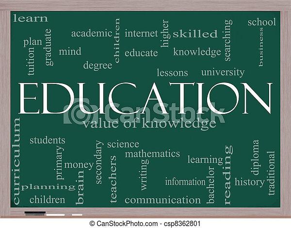 Educación, concepto de nubes en una pizarra - csp8362801