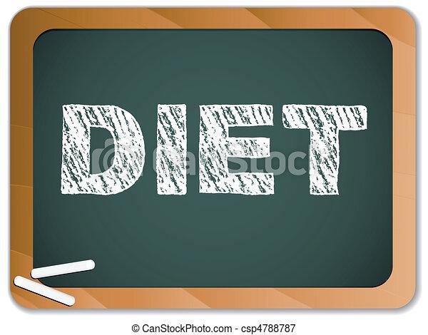 Dieta escrita en la pizarra con tiza. - csp4788787