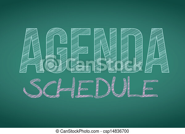 Mensaje programado de agenda escrito en una pizarra - csp14836700