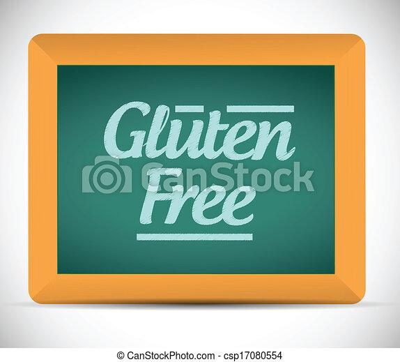 Mensaje libre de gluten escrito en una pizarra - csp17080554