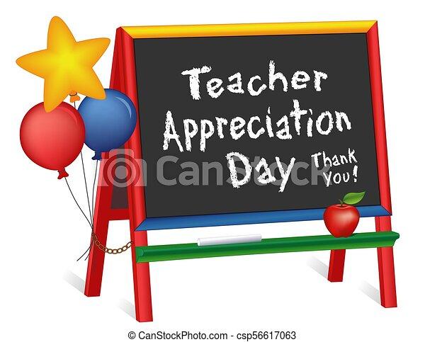 Día de apreciación de maestros, estrellas y globos, caballete de pizarra para niños - csp56617063