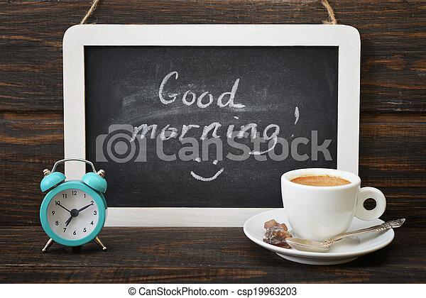 Una taza de café con pizarra - csp19963203
