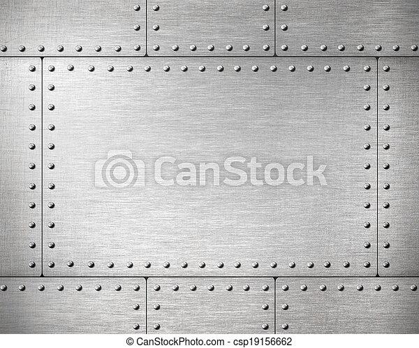 Placas de metal con remaches de fondo - csp19156662