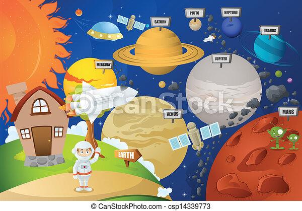 Astronauta y sistema planetario - csp14339773