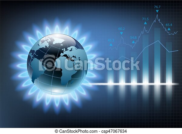 Planeta Tierra en la llama azul de un quemador de gas. Ilustración de vectores de gráficos financieros - csp47067634