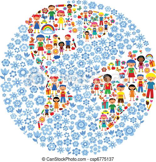 Planeta de niños, ilustración vectorial colorida - csp6775137