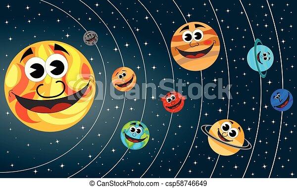 Los felices planetas de dibujos animados del Sistema Solar orbitan el Sol en el espacio - csp58746649