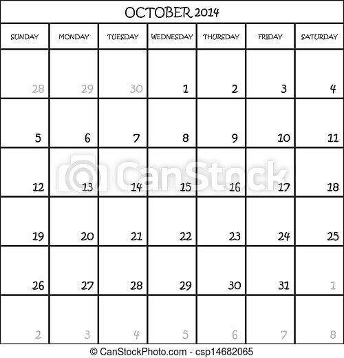 Planner CALENDAR MESES OCTUBRE 2014 EN TRANSPARENTA - csp14682065