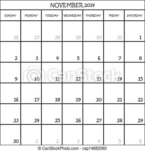 Planner CALENDAR MESES NOVIEMBRE 2014 EN TRANSPARENTA - csp14682060