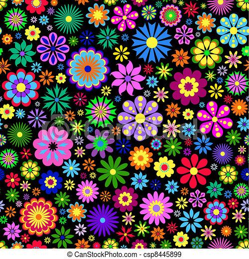 Flor colorida de fondo negro - csp8445899